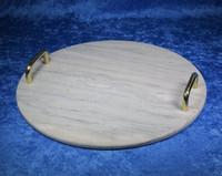 Kivitarjotin marmori pyöreä 295mm kullan väriset kahvat tr2
