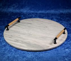 Kivitarjotin marmori pyöreä 295mm kahvat puu ja musta tr1