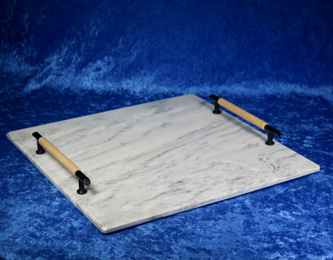 Kivitarjotin marmori 30x30cm kahvat puu ja musta TR6