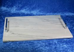 Kivitarjotin tarjotin marmori 300x340mm, hopean väriset kahvat TR8