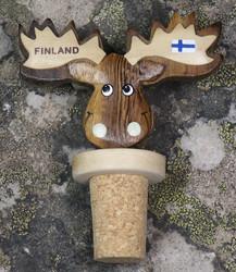 Viinipullonkorkki Hirvi, sarvissa suomenlippu ja Lapland