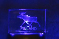 Kristallikuutio 6cm Hirvi, Finland