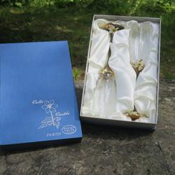 Shampanjalasit  2kpl Valkovuokko kristallilasit lahjapakkauksessa