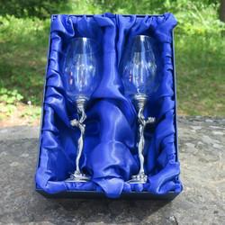 Viinilasisetti 2kpl, mies ja nainen 28cl viinilasit tinajaloilla