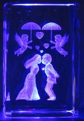 Kristallikuutio 6cm Hääpari ja enkelit