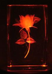 Kristallikuutio 6cm Ruusu