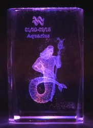 Kristallikuutio 4cm VESIMIES, AQUARIUS,