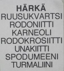 Taulu HÄRKÄ TAURUS  onnenkivet NRO F