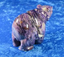 Kiviveistos: Tsharoiittiikarhu n. 850g, koko 8x13cm. Unikki!