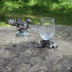 Snapsilasit 2kpl Hirvi kääntöpikarit lasi/tina lahjalaatikossa