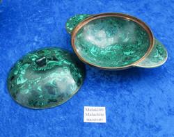 Malakiittikuho 12,5cm korvallinen ja kannellinen kiviastia