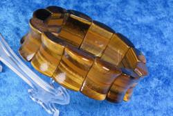 Rannekoru tiikerinsilmä, leveät 2cm palat joustavassa silikoninauhassa