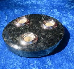 Kynttilänjalka Larvikiitti 3 kruunukynttilälle 17,5cm
