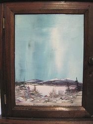 Avainkaappi lapin maisema ovessa. Maisemamaalaus Martti Kumpulainen