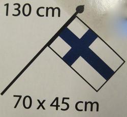 Suomen lippu ulkoseinään kiinnitettävä, lippu 70x45cm, varsi 130cm