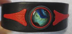 Nahkarannekoru spektroliitti 20mm ja tummansininen nahka 28mm leveys