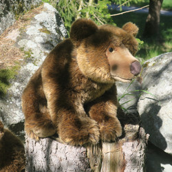 Pehmolelu karhu, ruskeakarhu, pituus  55cm, säkäkorkeus 26cm