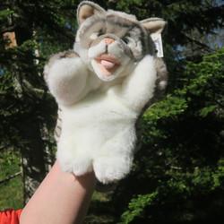 Käsinukke Kissa harmaanvalkoinen 35cm päälaelta hännänpäähän