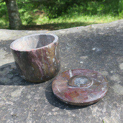 Fossiilirasia Pyöreä irtokansi, keskellä ammoniitti