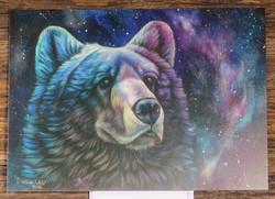 Postikortti karhu ja revontulet, piirretty