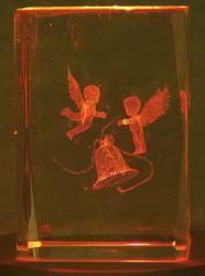 Kristallikuutio 6cm Enkelit soittavat joulukelloa