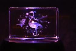 Kristallikuutio 6cm Vauva ja haikara, vaakataso