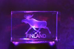 Kristallikuutio 4cm Hirvi, Finland