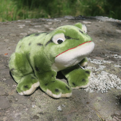 Pehmolelu sammakko, vihreä, suusta pyrstöön 26cm, korkeus 16cm