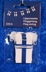 Suomenlippunauha: Suomenlippuja 3,6m pitkässä nauhassa, n. 60 kpl