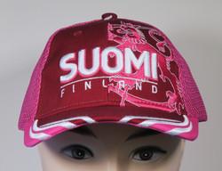 Lippis Finland-Suomi brodeerattu leijona takana suomenlippu fuksia