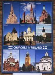 Postikortti Suomen kirkkoja- Churches in Finland