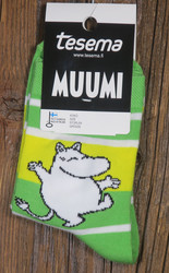 Sukat Muumi nilkkasukat vihreä-keltainen-valkoinen, koko 34-36