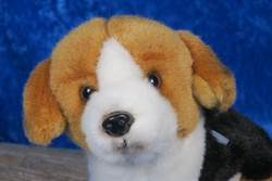 Pehmolelu ajokoira tai beagle koiranpentu n.11cm, 3-värinen