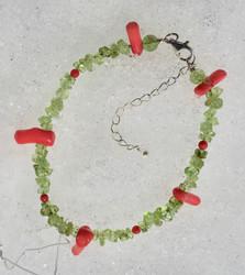 Rannekoru Peridootti ja koralli, 18-23cm,