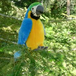 Pehmolelu Papukaija, 24cm, iso kelta/turkoosi lintu
