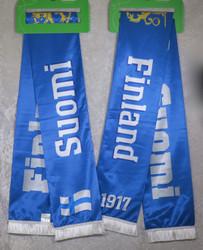 Kaulaliina: suomihuivi  sinivalkoinen, 16x140cm+hapsut,