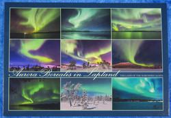Postikortti Aurora Borealis in Lapland. 9 kuvan sarja revontulia.