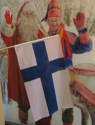 Suomen lippu 55x90 puuvarressa