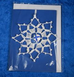 Joulukuusenkoriste Lumitähti, käsin virkattu, postikortti