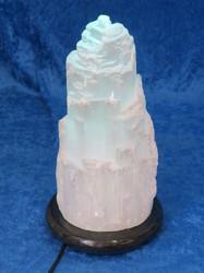 Kivilamppu Seleniittivuori LED-marmorijalustalla