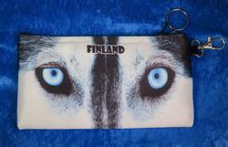 Kynäkotelo, pussukka Huskyn silmät Finland.Lapland 9x17cm