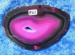 Akaattilevy pinkki, musta raita kiertää, kidereikä,105x75mm nro PX3
