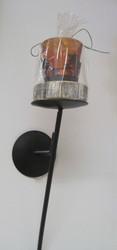 Kynttilänjalka seinälle metallia, lasi hirvismistein