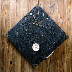 Seinäkello lämpömittarilla Spektroliitti 30x30cm kulmittain nro54-2
