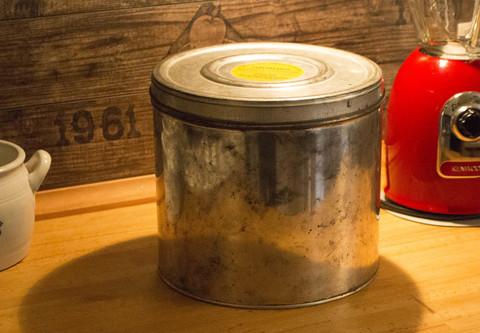 Vintage keksipurkki ruotsalainen peltiä