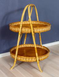 Rottinkinen pyöreä kaksitasoinen sivupöytä