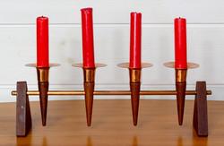 50-luvun kynttilänjalka, teak / messinki