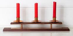 1950-luvun kynttilänjalka, teak / kupari