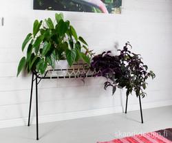 1950-luvun upea kukkapöytä huurrelasilla ja reunapunoksella