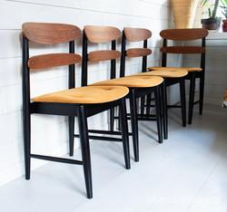 60-luvun tuoli teak / musta, varastossa 4 kappaletta